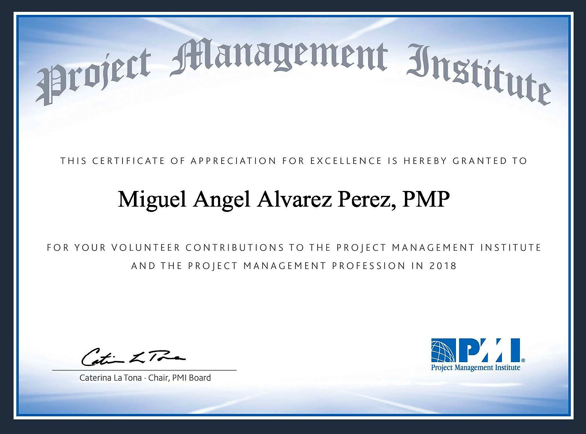 Certificado de Voluntario PMI 2018